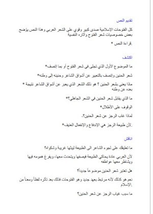 تحضير درس شعر الفتوح وآثاره النفسية في اللغة العربية للسنة الاولي ثانوي