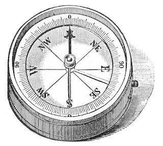 Vintage drawing of an engineering compass.