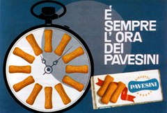 "The company's famous ad, proclaiming that ""It's always Pavesini time""."
