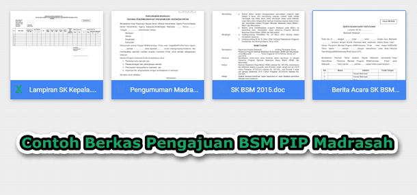 Contoh Berkas Pengajuan BSM PIP Madrasah