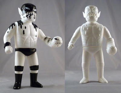 Black & White Cannibal Fuckface and Unpainted White Cannibal Fuckface Vinyl Figures by Monster Worship