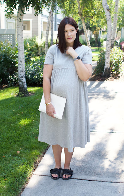 ASOS Maternity, Steve Madden, Smock dress, Pregnancy Style, OOTD, WIWT, White clutch bag