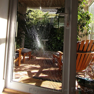 Broke glass patio door