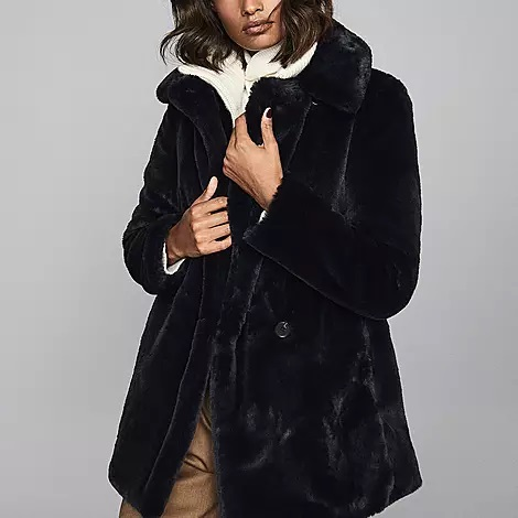 Reiss Faux Fur Coat