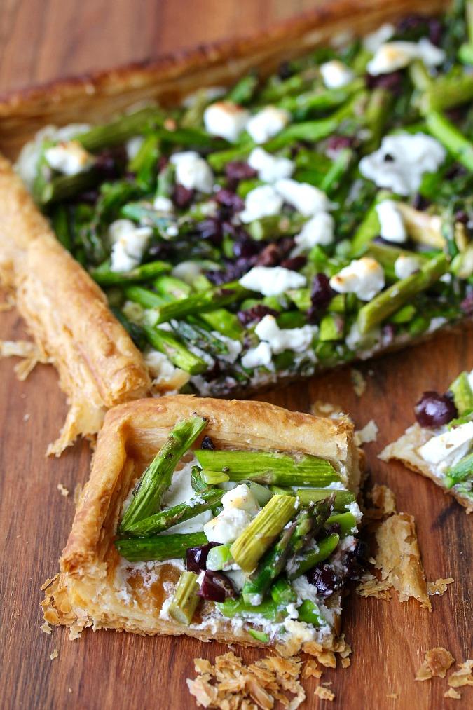 Asparagus and Goat Cheese Tart with Kalamata Olives
