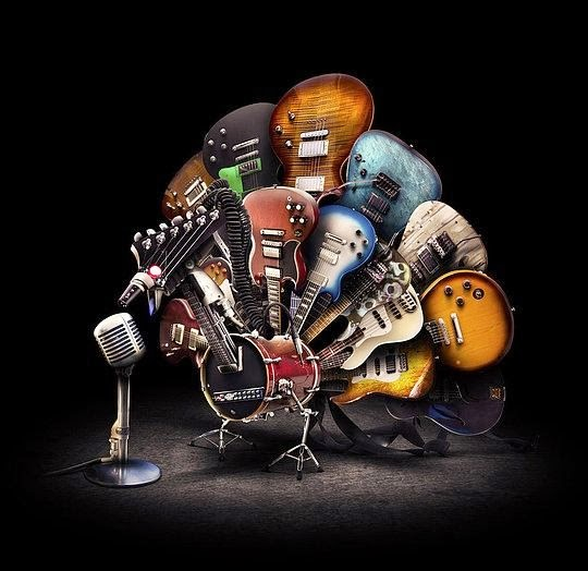 fotomontaje de instrumentos musicales