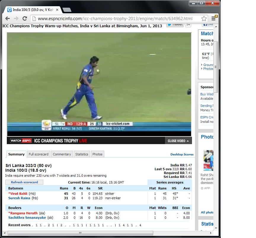 Cricinfo live cricket
