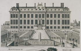 The North Front of Montagu House and Gardens    An engraving by James Simon (1714)    © Trustees of the British Museum