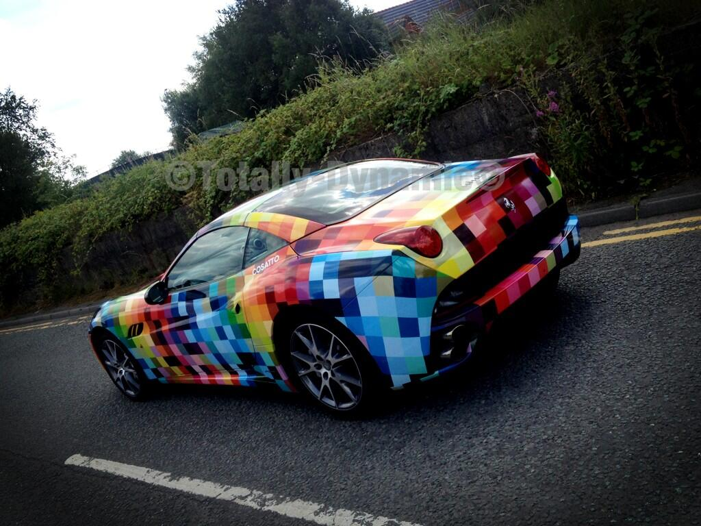 Ferrari California Gets Rainbow Checkerboard Wrap