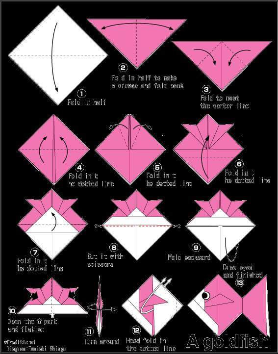 tutorial origami ikan