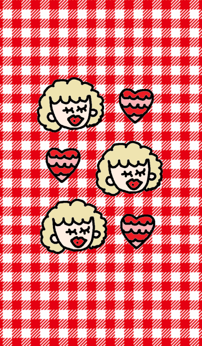 Catherine and heart x red check