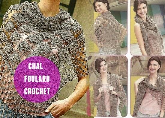 chal, foulard, crochet, patron