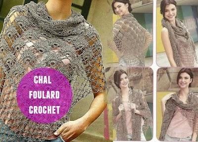 Chal Foulard punto abanico crochet