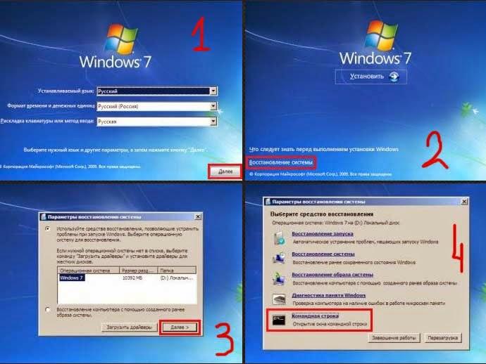 Командная строка с под загрузочного диска с Windows 7.