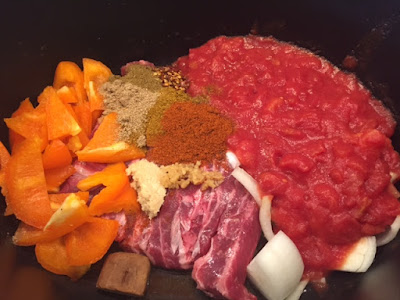 Beef Curry Ingredients in the slow cooker