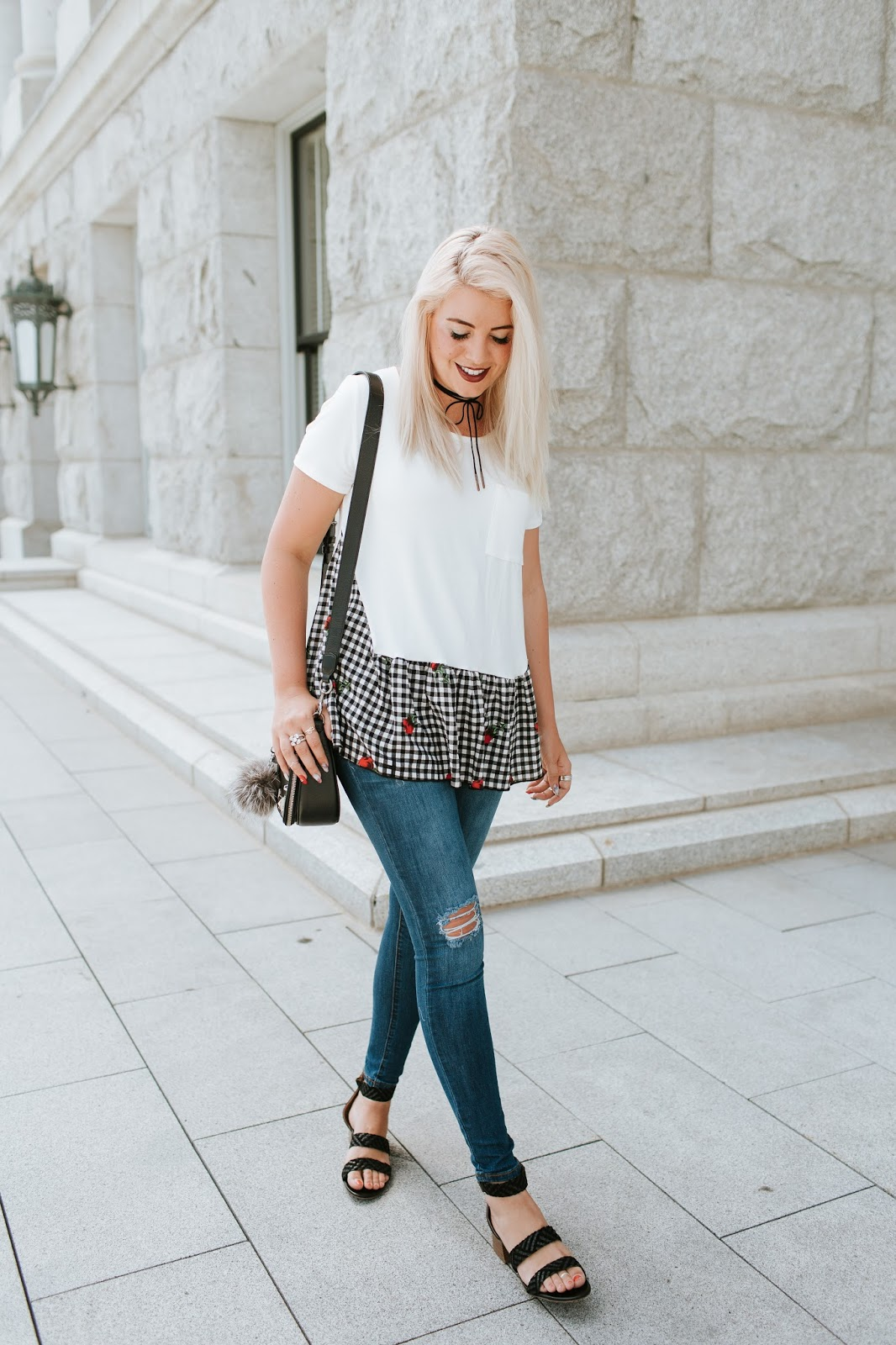 Gingham top, Fall outfit, Utah Fashion Blogger