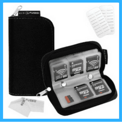 black memory card wallet or case
