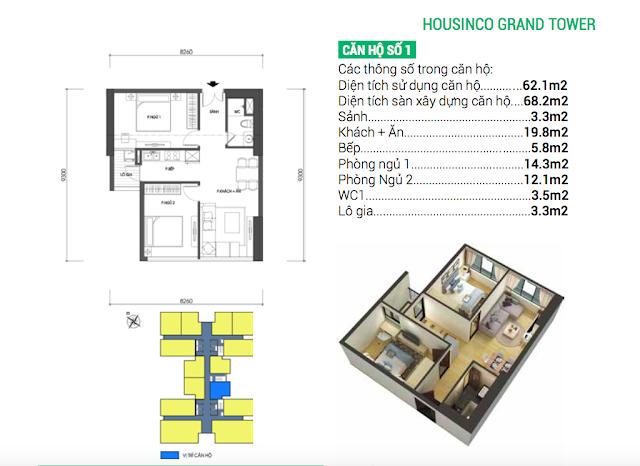 Thiết kế căn hộ số 01 Housinco Grand Tower