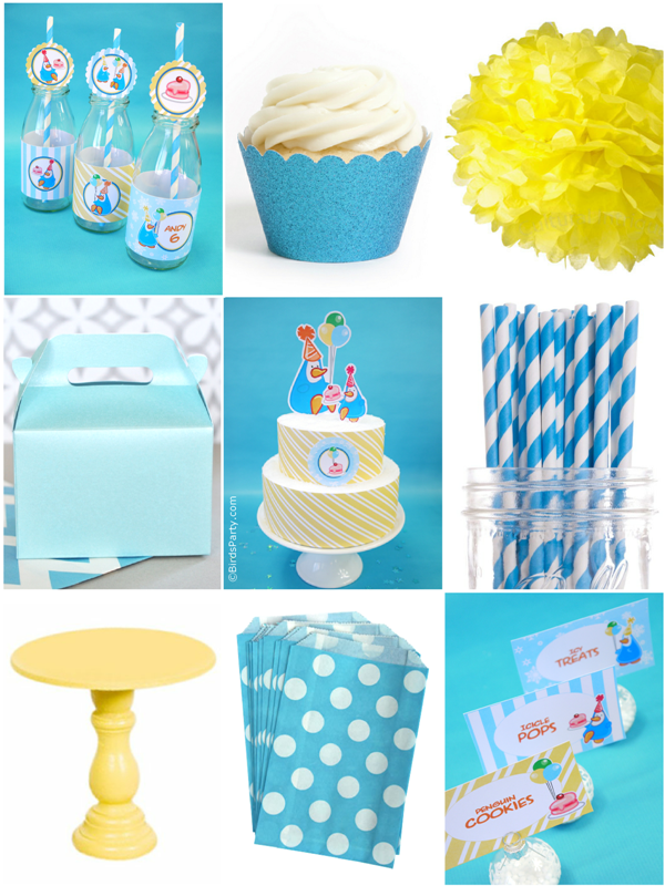 Blue and Yellow Penguin Birthday Party Ideas - BirdsParty.com