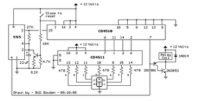 CIRCUIT 9 SECOND COUNTDOWN POWER-ON RELAY WITH 7 SEGMENT