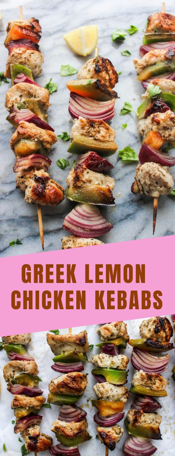 GREEK LEMON CHICKEN KEBABS #CHICKEN #DIET #GLUTENFREE