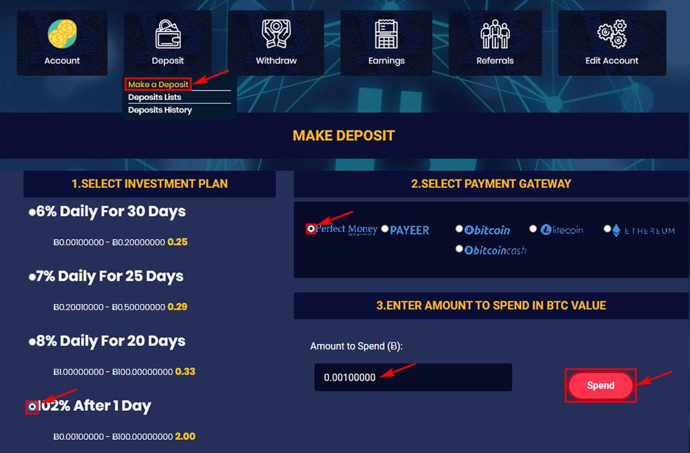 Создание депозита в BitPelican