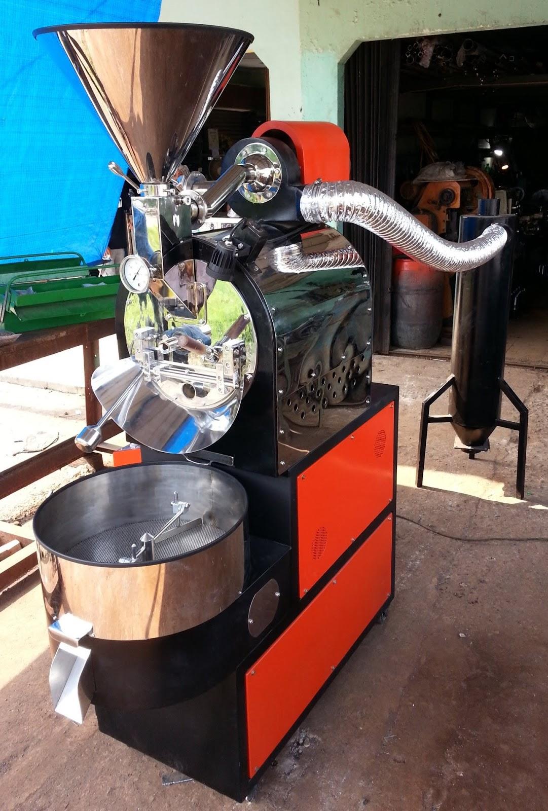 Spek umum mesin roasting kopi diantaranya menggunakan bahan stainless steel tebal 2mm pada bagian funnel outer drum dan cooling