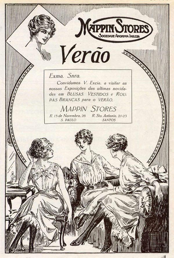 Propaganda antiga do Mappin promovendo a linha de roupas para o verão de 1918