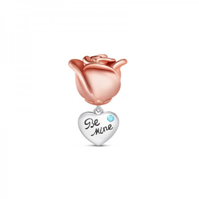 Rose Gold Flower Charm Sterling Silver