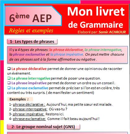 Mon livret de grammaire pour la 6aep .Pdf