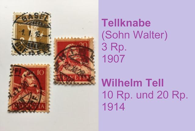Briefmarken Wilhelm Tell und Sohn Walter