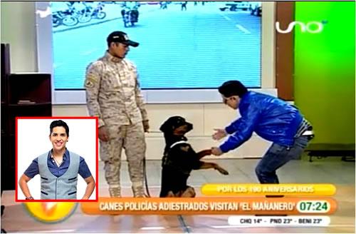 VIDEO: Perro policía muerde a Carlos Marquina en el Mañanero