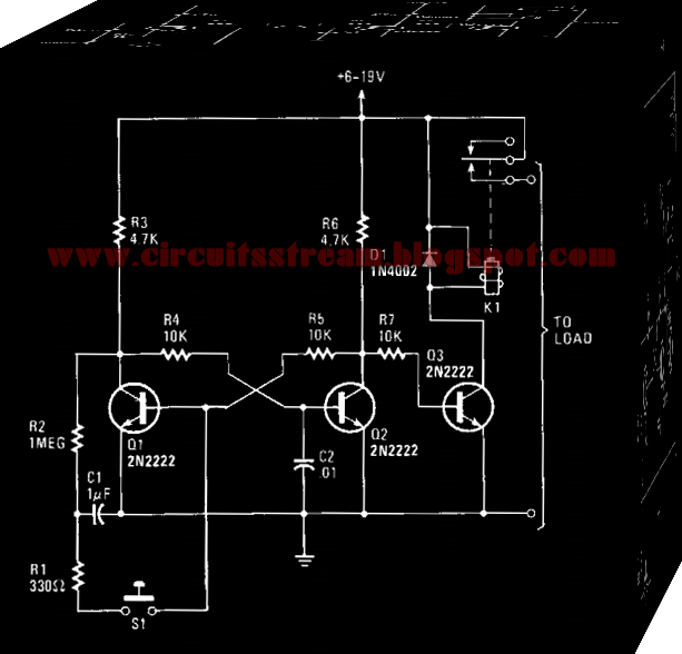 Electronic Push-on Push-off Switch Circuit Diagram
