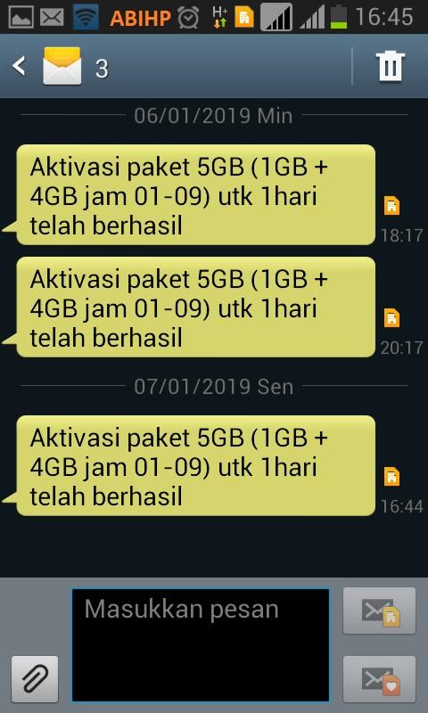Konfirmasi sms yang masuk ke tri yang menandakan pmbelian telah berhasil.