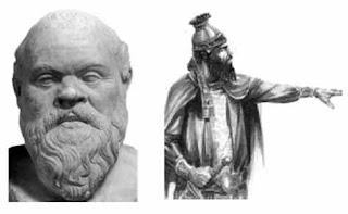 Patung Socrates dan Raja Cyrus Agung dari Dinasti Akhamenida