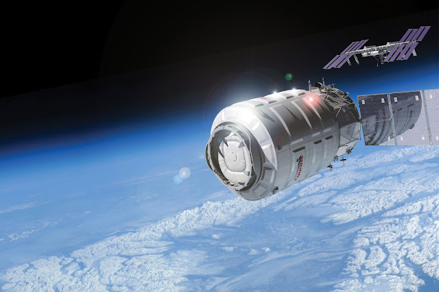 Artist rendering of Cygnus cargo logistics spacecraft approaching the ISS. Credit: Orbital