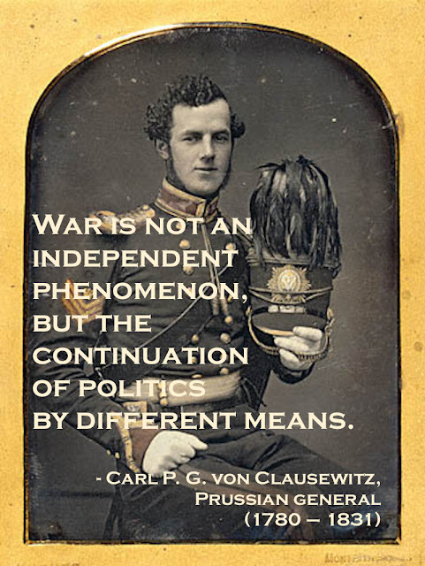 Daguerreotype portrait hand colored. Portrait of a Yeoman 1853. Quote by Carl Von Clausewitz re war and politics. Armchair General and other stories of The Better Defense. marchmatron.com