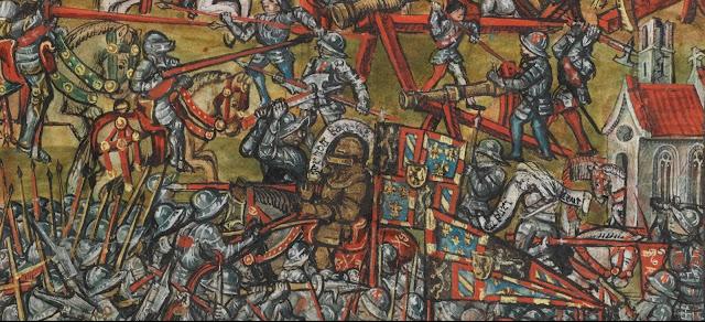 """La bataille de Nancy - Charles le Téméraire en plein combat  Enluminure tirée de """"La Chronique de Lucerne"""" (1511-1513)   écrite par le chroniqueur Diebold Schilling der Jüngere (1460-1515)  (Bibliothèque Centrale de Lucerne)"""