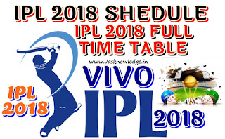 IPL 2018 schedule Full List, Time Table, Dates Of IPL 2018