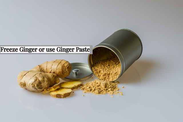Preparing ginger can take time. I keep frozen ginger on hand to save time. To freeze ginger, purchase ⅛ to ¼ pound of fresh, tender ginger. Peel and grate or chop the ginger. To grate ginger, grate with the grain to minimize the fiber that comes out. If you have an electric chopper, finely chop the ginger and freeze it. I usually divide the ginger into approximately 1-teaspoon portions, placing them on a plate lined with plastic wrap and freeze it. When it is completely frozen, remove it from the plastic wrap and store in a sealed plastic bag or container. It will take time initially, but on a daily basis, it saves a lot of time.