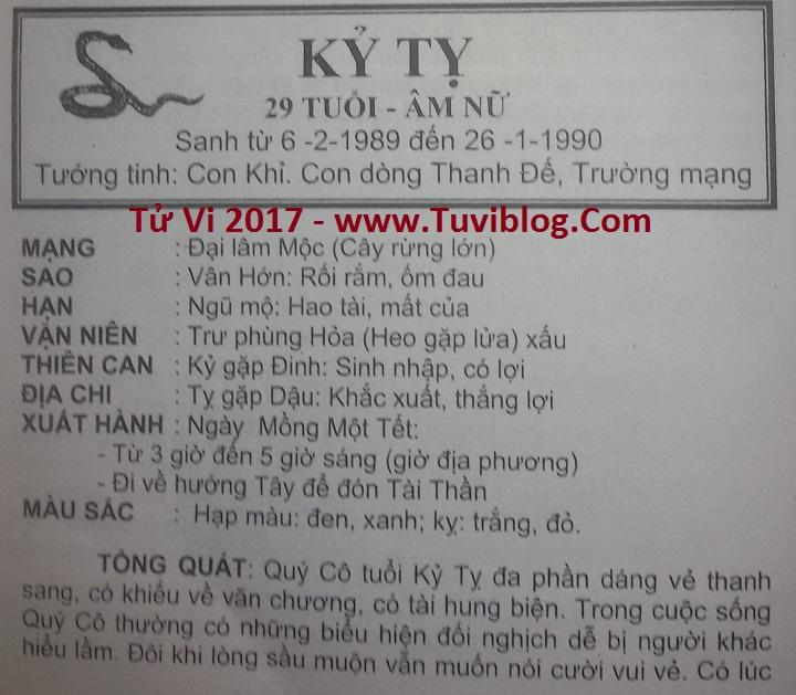 Tu vi 2017 Ky Ty 1989 nữ mạng