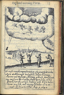A depiction of a battle in the heavens. A black ston is falling form the sky chased by a dog