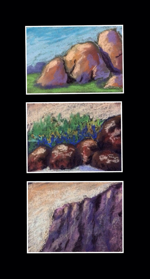 Thumbnail sketches of rocks and mountains by Manju Panchal ( soft pastel works )