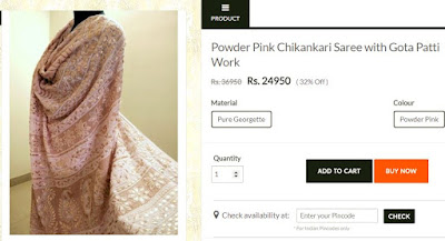Pink Pure georgette Chikan Saree