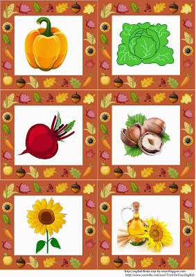 autumn fall flashcards, vegetables and nuts and sunflowers