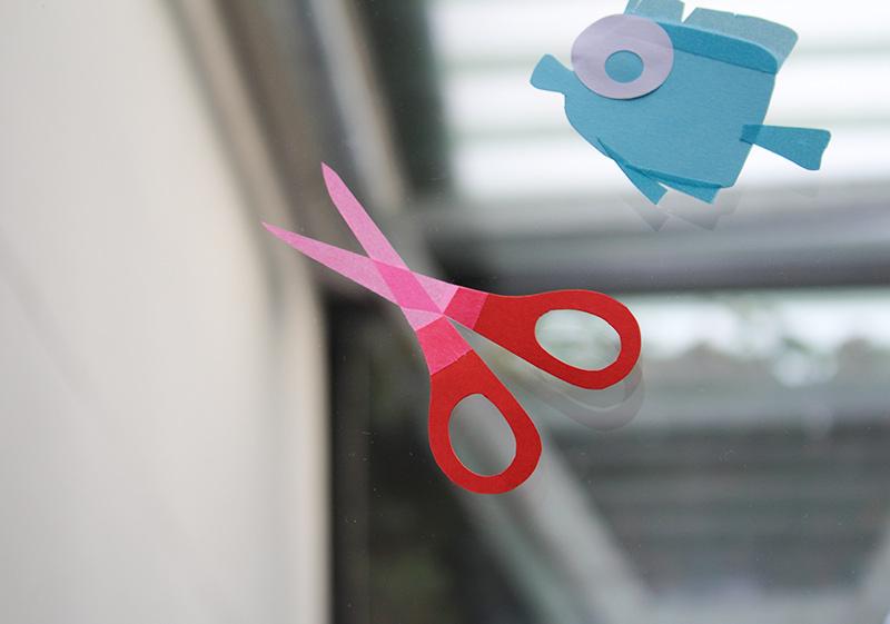 vitrine papier découpé et masking tape