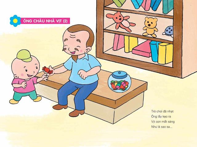 bài thơ chủ đề gia đình cho trẻ mầm non tranh minh họa (Ông cháu nhà vịt)
