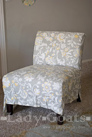Lady Goats: DIY Slipper Chair Slipcover Without a Template