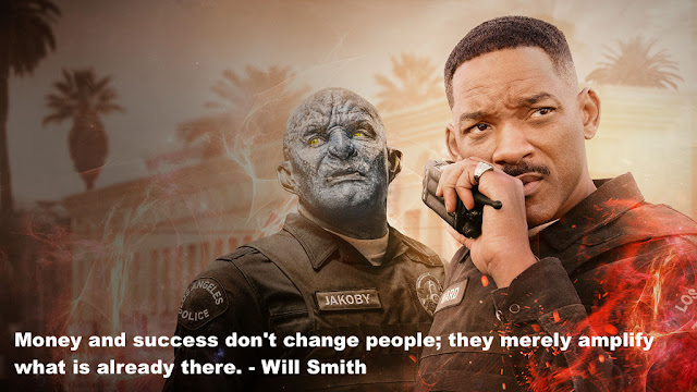 will smith in Netflix movie Bright. 2017