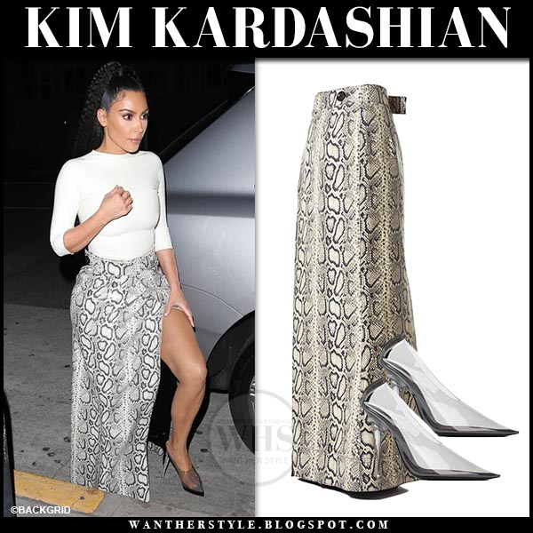 bf2e5a9f31 Kim Kardashian in snake print maxi skirt and transparent Yeezy pumps. Night  out outfit march